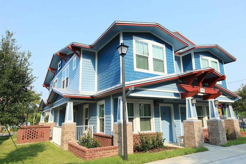 Oak Ridge Estates blue two story building